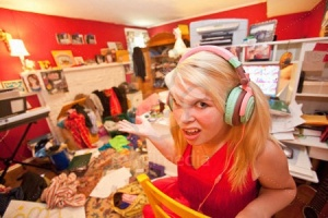 Teen girl in messy room
